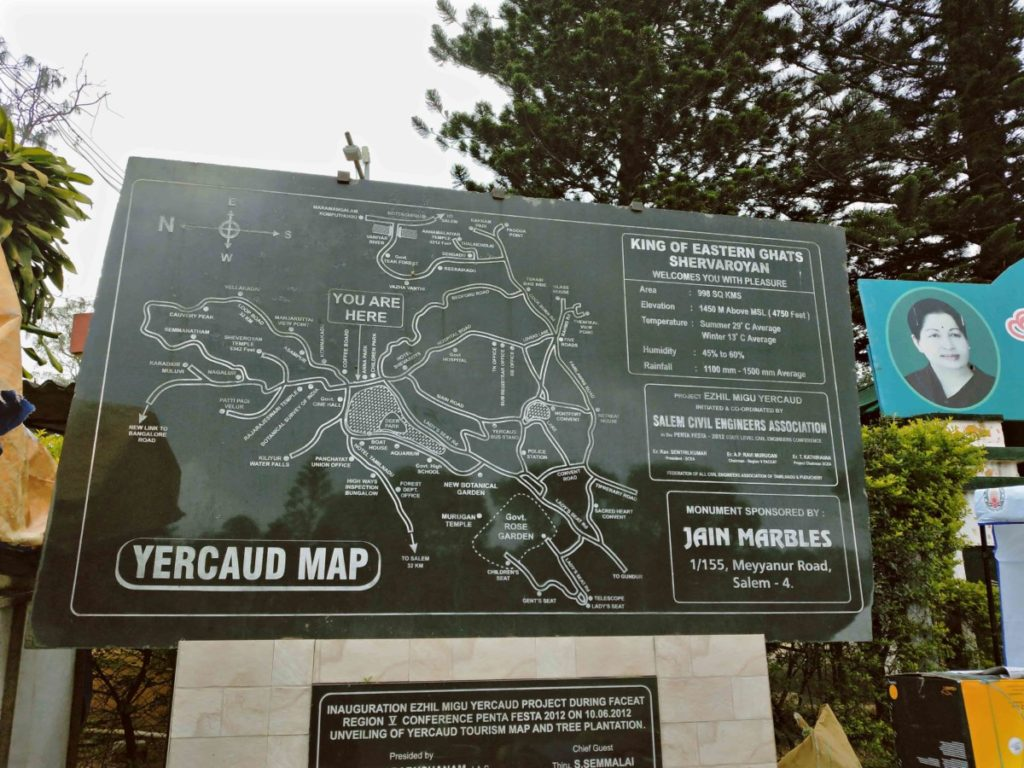 map of yercaud by ourbackpacktales