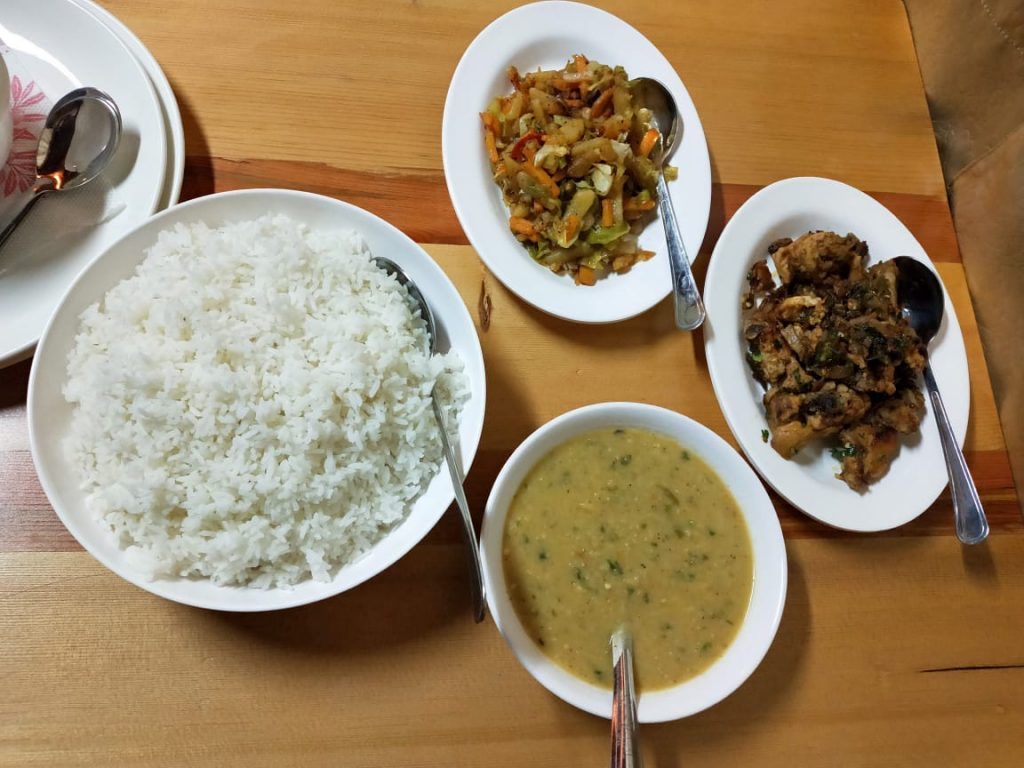 Dinner at punakha