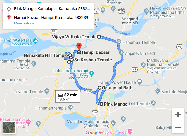 Hampi Route Map for Day 1