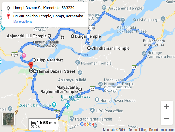 Hampi Route Map