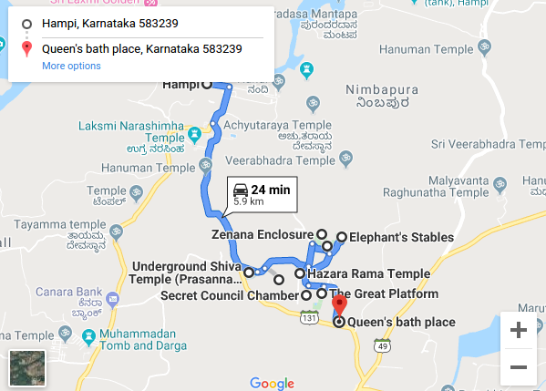 Hampi Day 1 Route Map