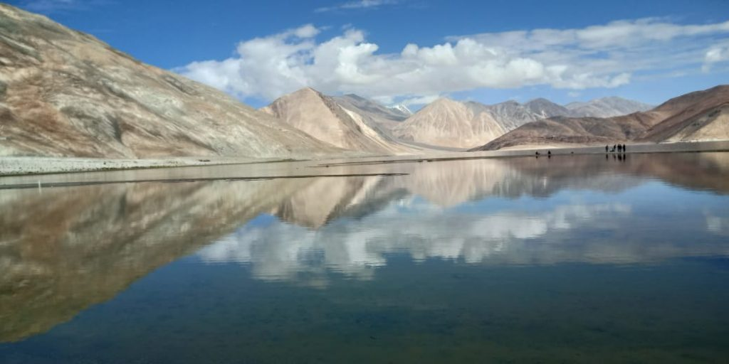 Pangong lake view in trip to Ladakh