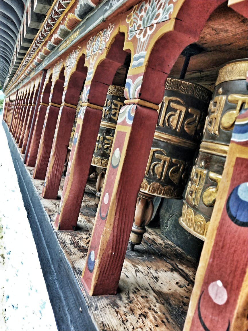 Prayer wheels at Changangkha Lhakhang