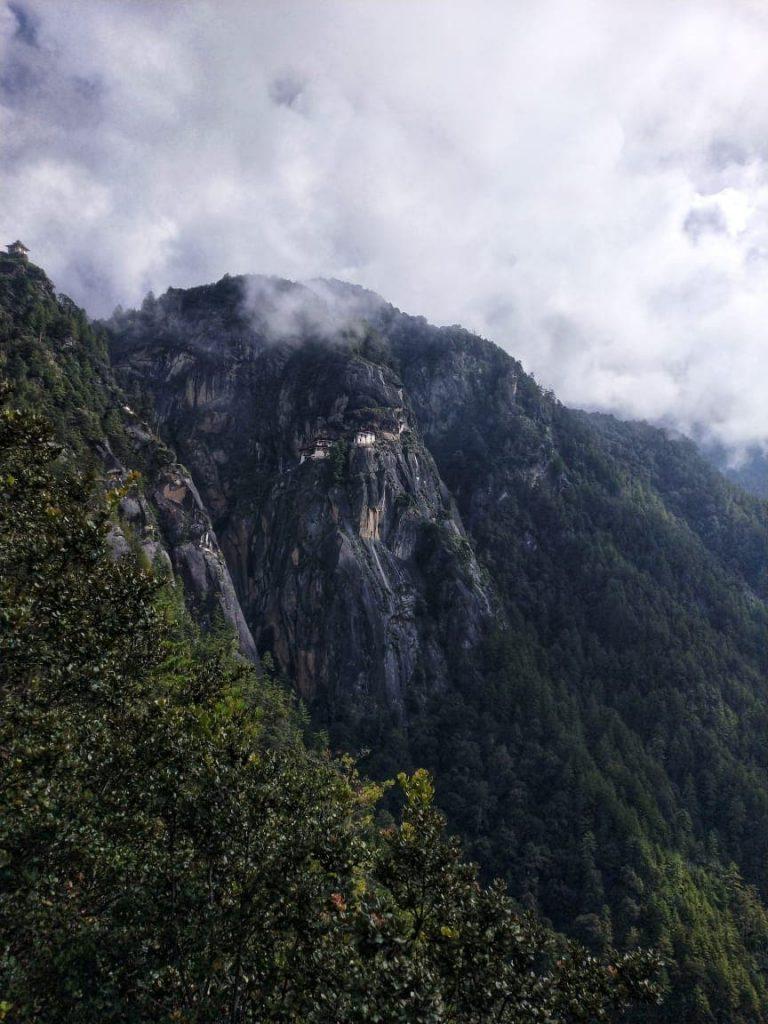Distant View of Tiger's Nest Monastery in Bhutan