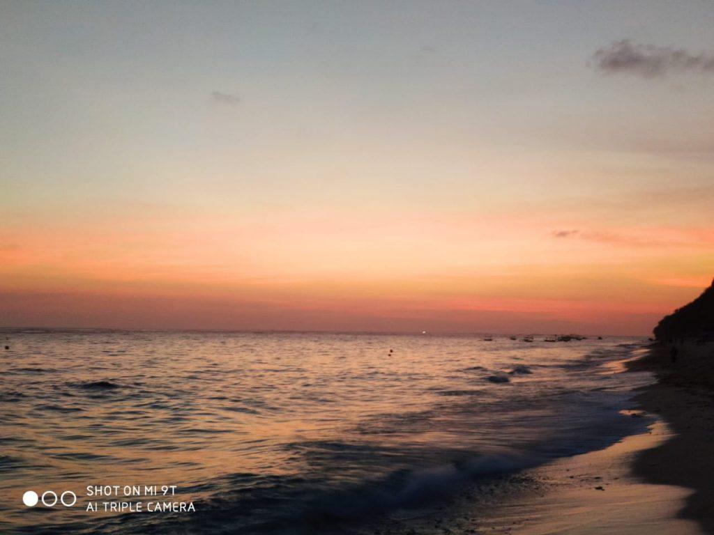 Sunset at Pantai Pandawa Beach in Bali