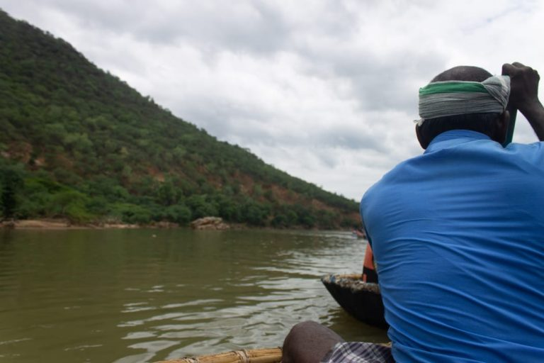 Our Coracle driver at Hogenakkal Falls from Bangalore
