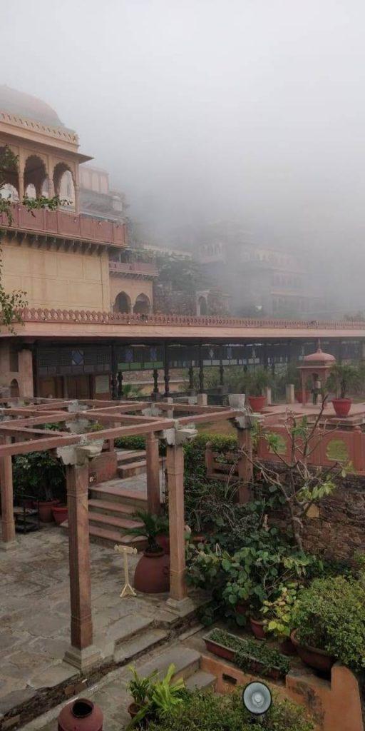 Early morning fog at Neemrana Fort Palace
