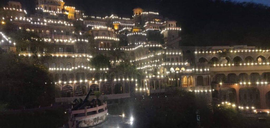 Neemrana Fort Palace under illumination