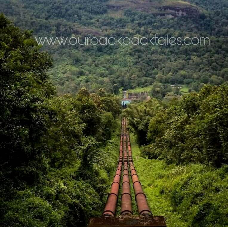 Penstock pipe places near Athirapally waterfalls