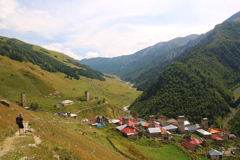 Mestia to Ushguli hiking Trail in Georgia
