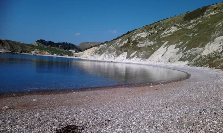 Lulworth Cove hiking trail in Jurassic Coast in South West UK
