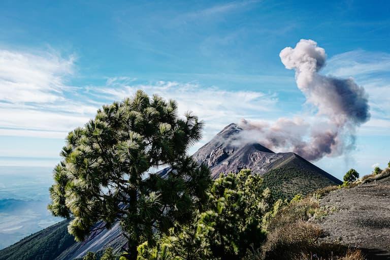 Acatenango volcano hiking trail in Guatemala