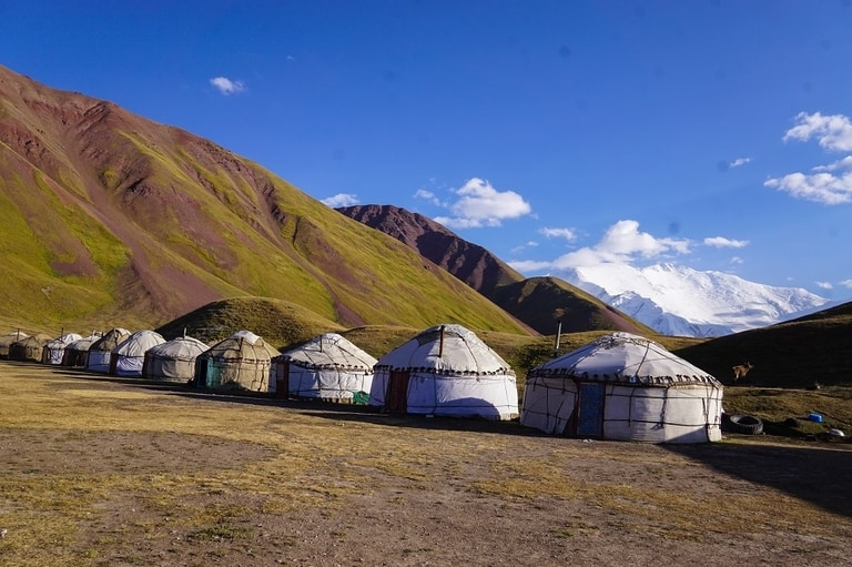 Lenin Peak Base Camp hiking trail in Kyrgysthan